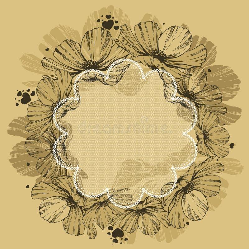 Fond floral avec la dentelle et les coeurs Vecteur illustration stock