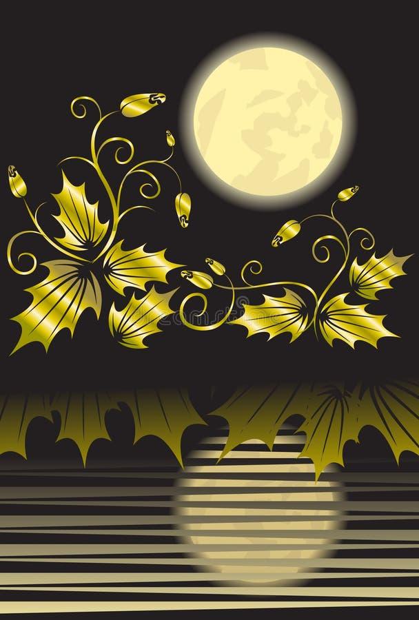 Fond Floral Avec La Lune Photographie stock libre de droits