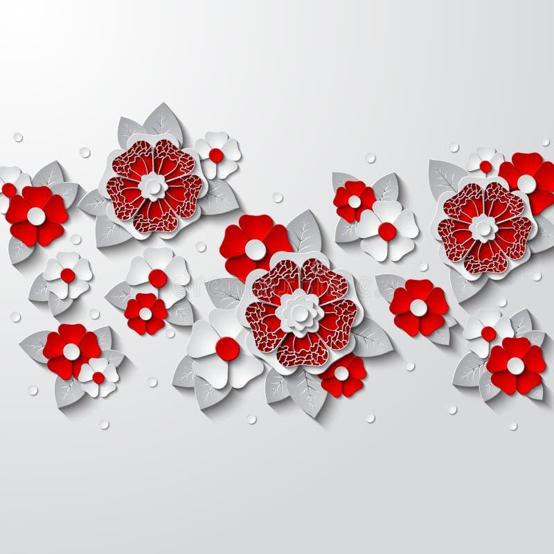 Fond floral avec le papier 3d coupé par fleurs d'isolement sur le blanc illustration stock