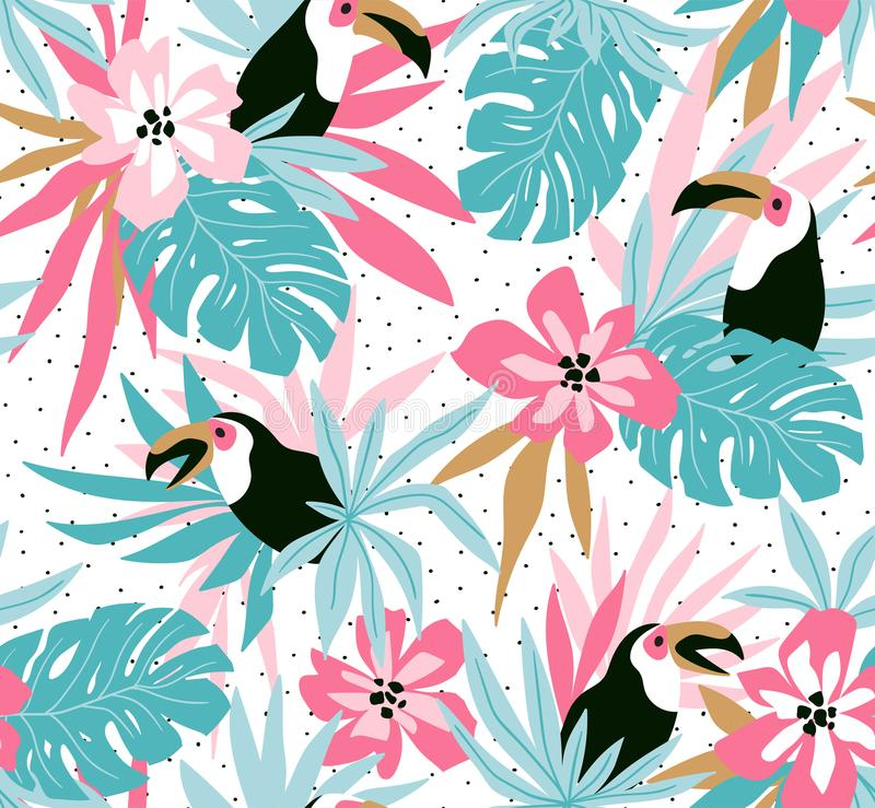 Fond floral avec les fleurs, les feuilles et les toucans tropicaux Modèle sans couture de vecteur pour la conception de tissu illustration stock