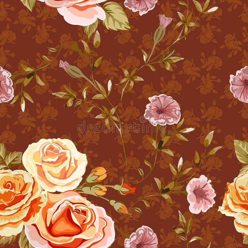 Fond floral avec les fleurs jaunes et oranges de roses sur rouge-brun illustration de vecteur