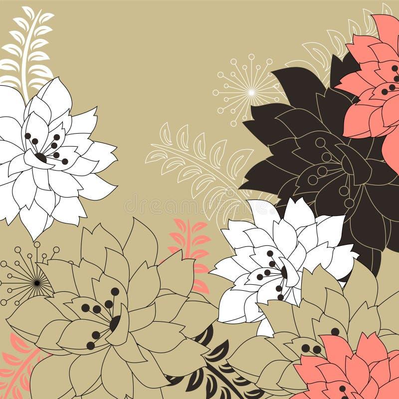 Fond floral avec les fleurs stylisées illustration de vecteur