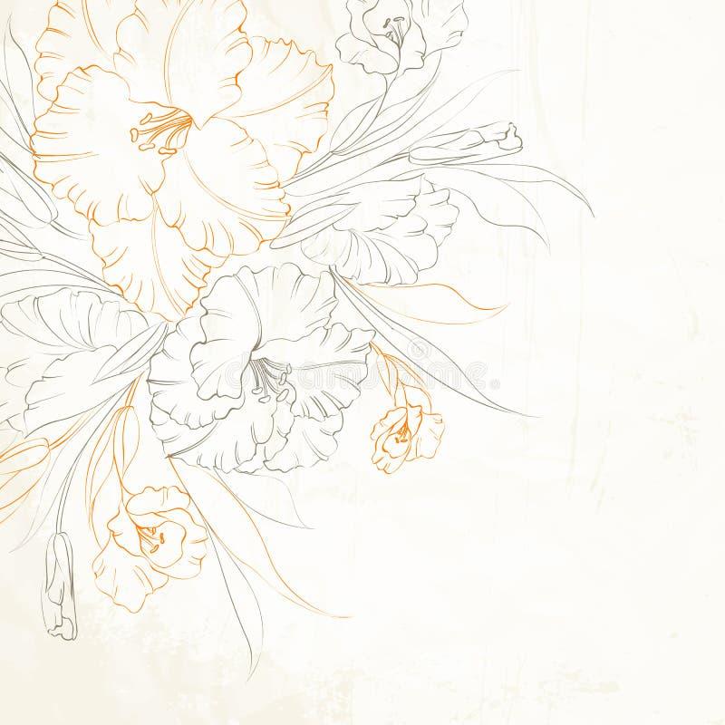 Fond floral avec les iris tirés par la main. illustration stock