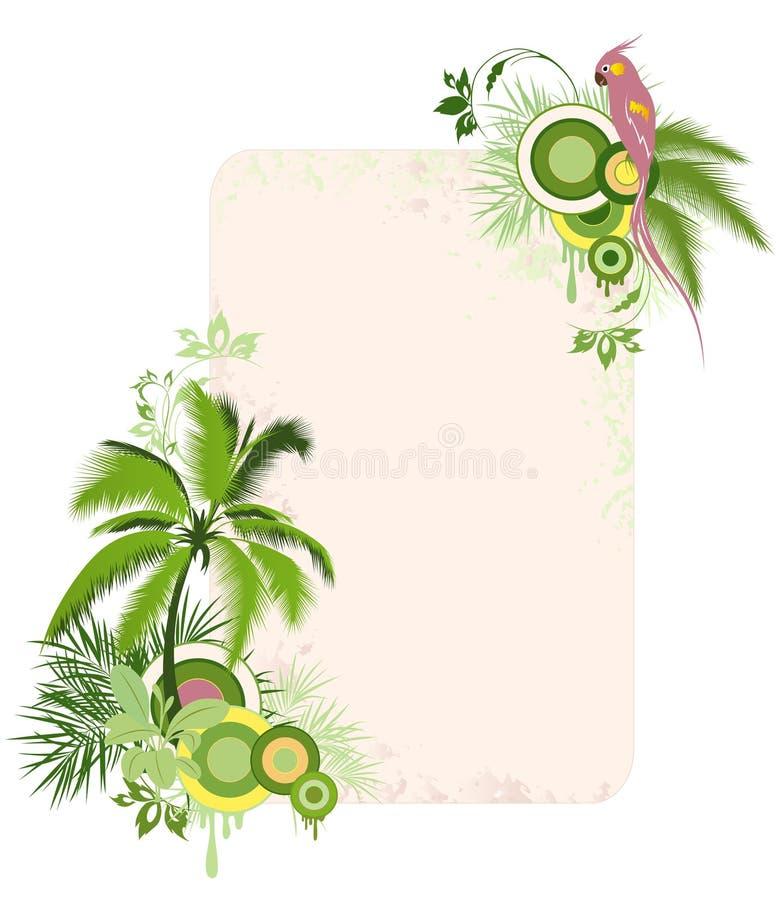 Fond floral avec les paumes et le perroquet illustration de vecteur