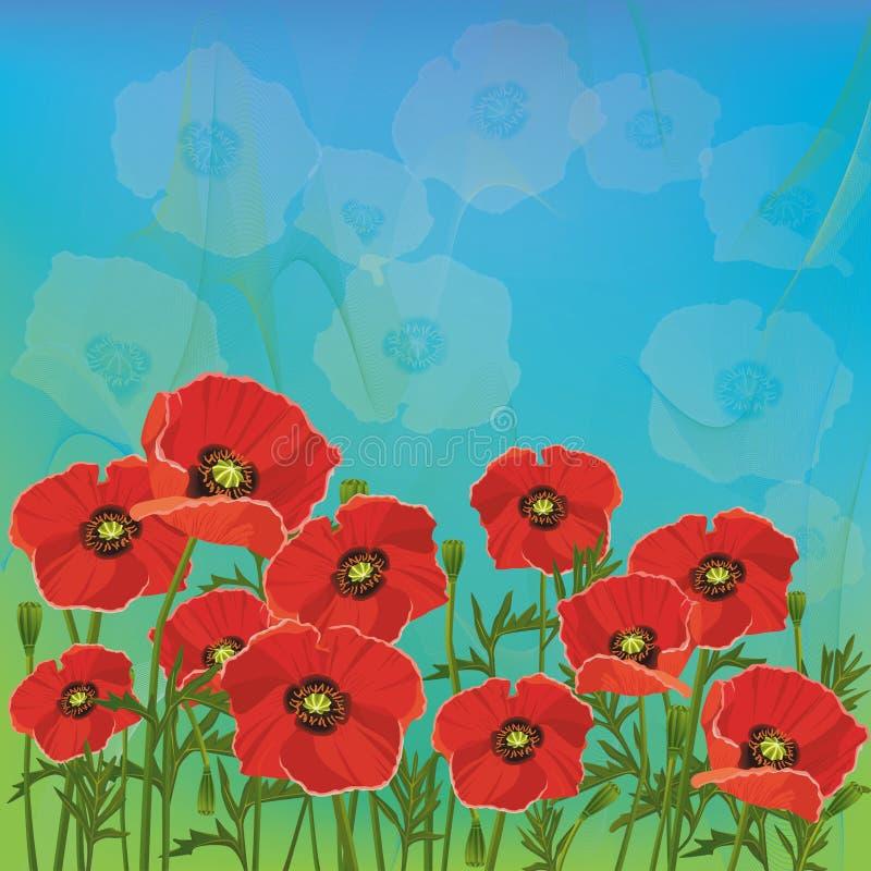 Fond floral avec les pavots rouges illustration stock