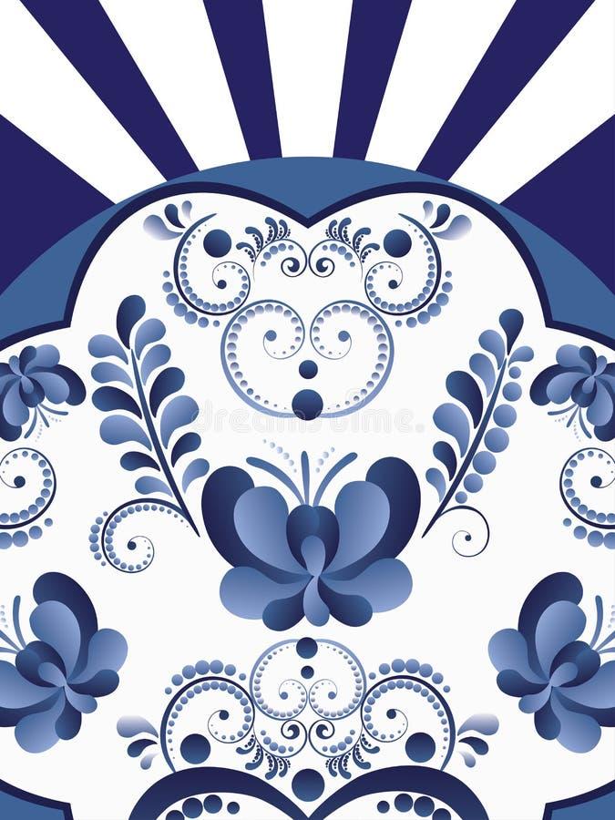 Fond floral blanc bleu illustration stock