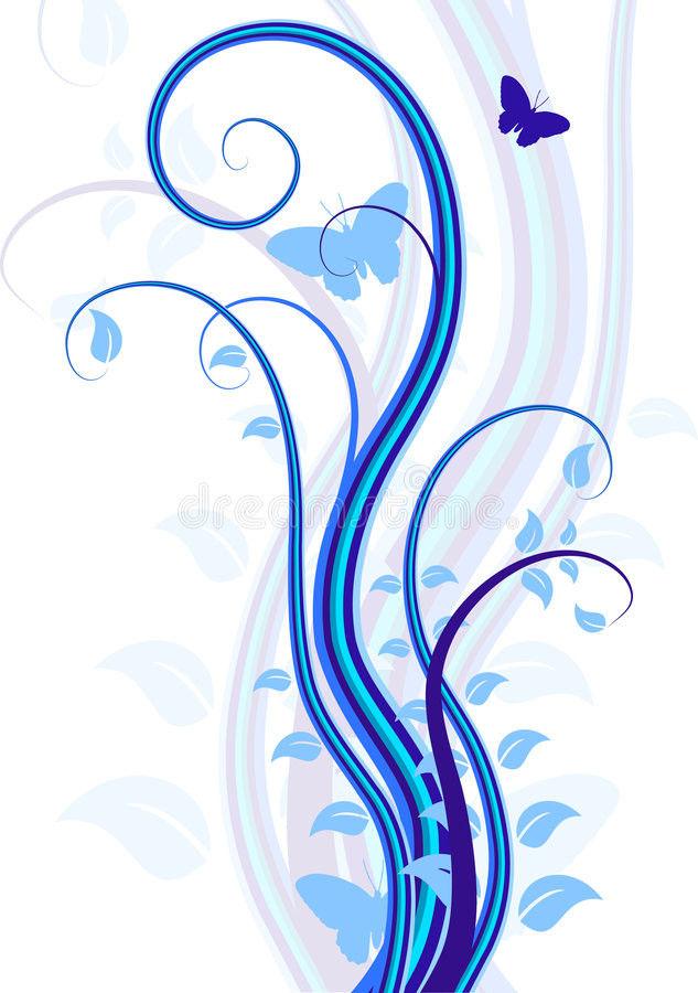 Fond floral bleu. illustration stock