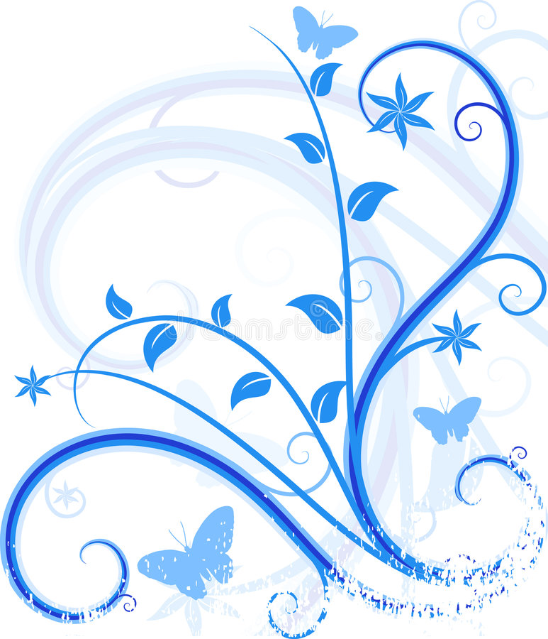 Fond floral bleu. illustration libre de droits