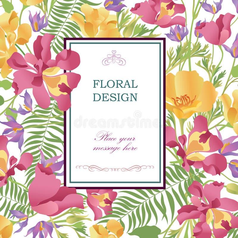 Fond floral Couverture de bouquet de fleur Modèle de Flourish pour le GR illustration de vecteur