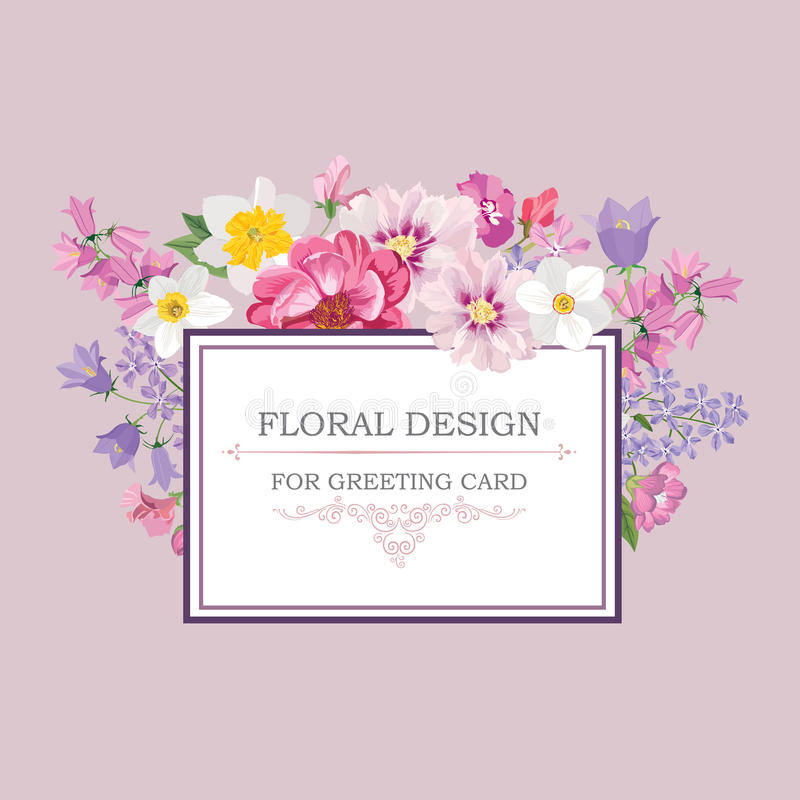 Fond floral Couverture de vintage de bouquet de fleur Carte W de Flourish illustration stock
