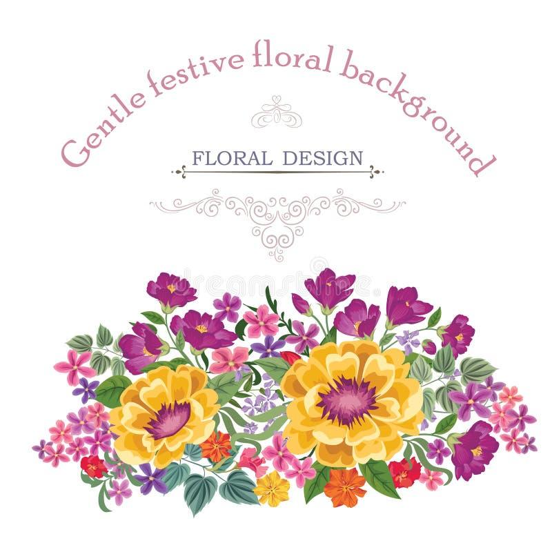 Fond floral Couverture de vintage de bouquet de fleur Carte W de Flourish illustration de vecteur