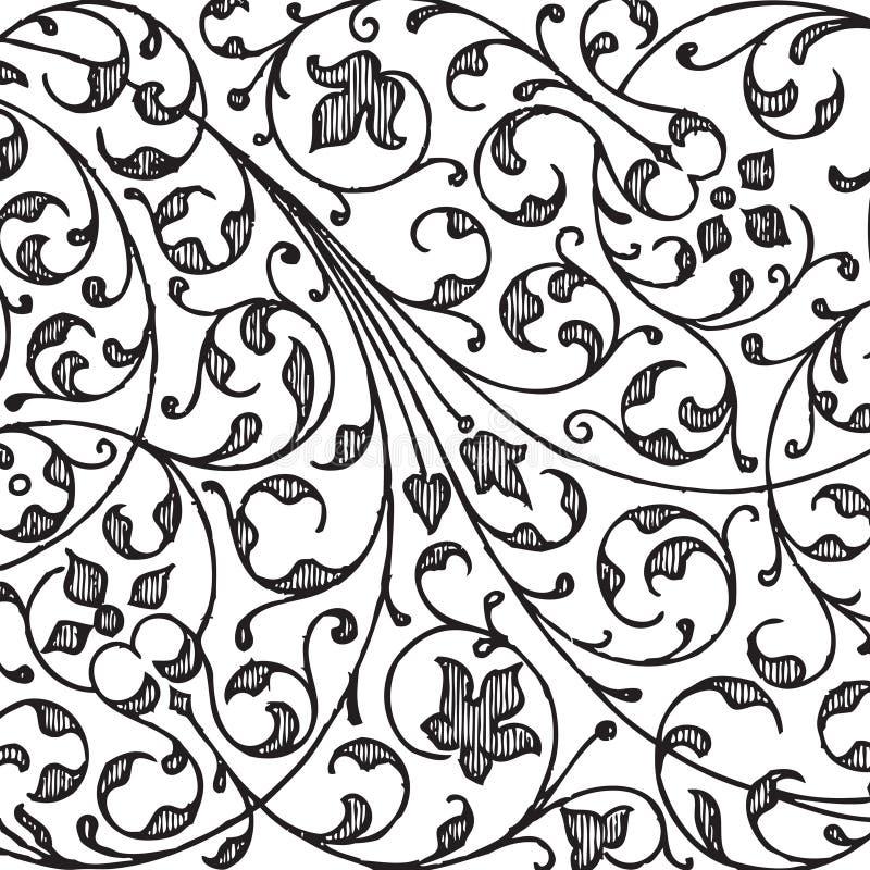 Fond floral d'album à damassé de cru illustration libre de droits