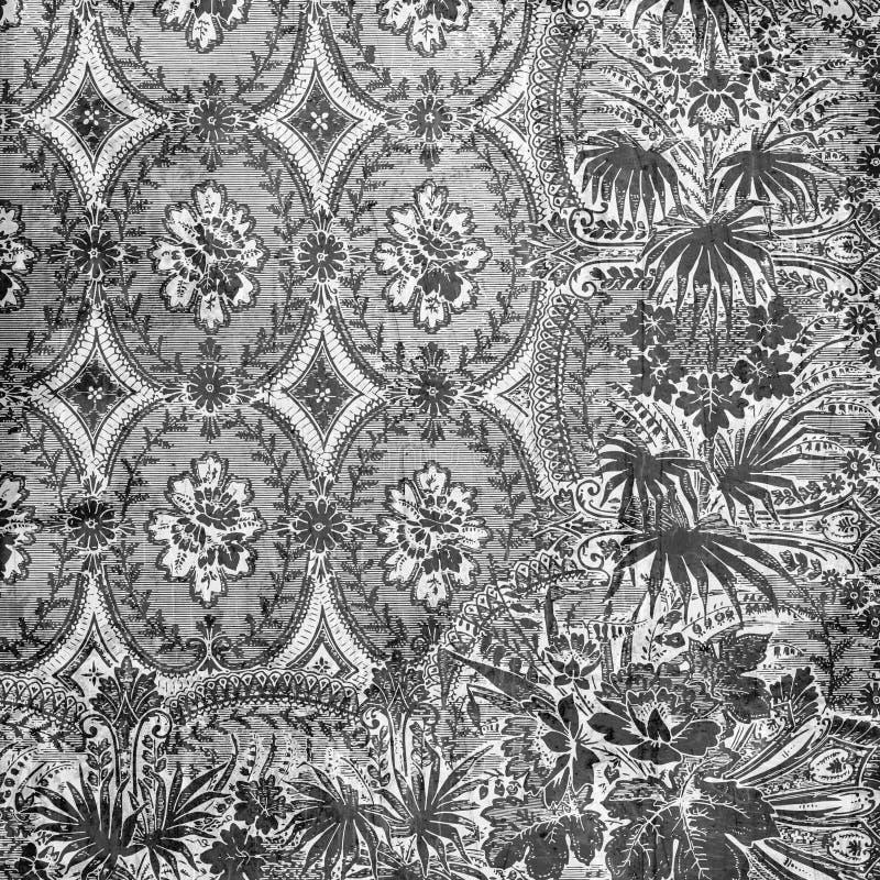 Fond floral d'album à damassé de cru sale photo stock