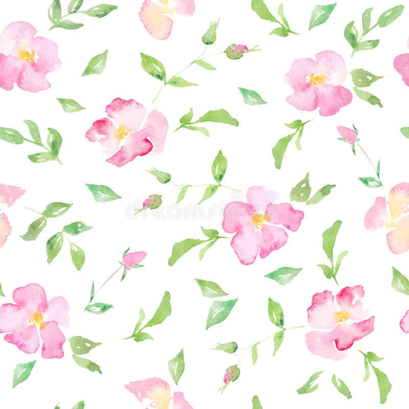 Fond floral d'aquarelle avec les roses sauvages roses illustration stock