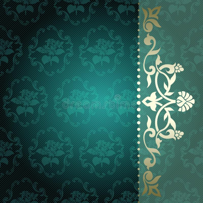 Fond floral d'arabesque en vert et or illustration stock