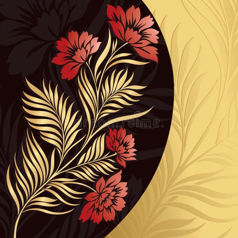 Fond floral d'or de vecteur illustration de vecteur