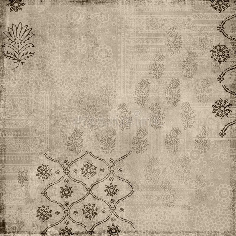 Fond floral d'estampille de batik de type de cru de Brown illustration stock