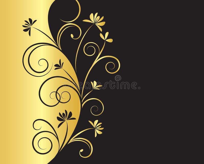 Fond floral dans des couleurs de noir et d'or illustration libre de droits
