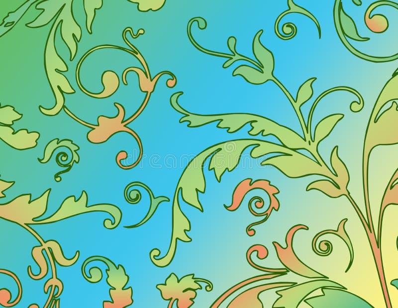 Fond floral dans le bleu et le vert illustration de vecteur