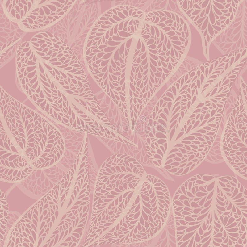 Fond floral dans le rétro style avec des feuilles Dos sans couture de feuille illustration de vecteur