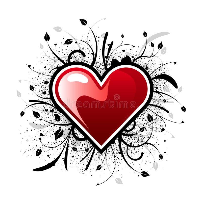 Fond floral de coeur de Valentine illustration de vecteur
