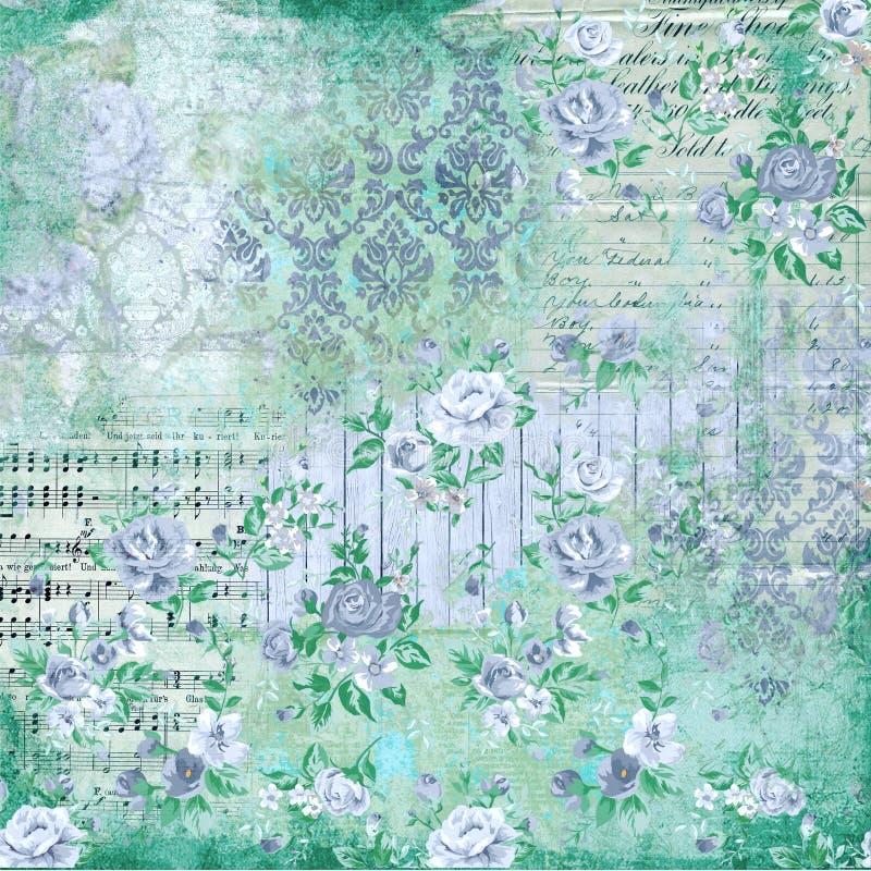 Fond floral de collage de vintage - damassé - musique de feuille - roses de cottage - bleu - papier chic minable illustration libre de droits