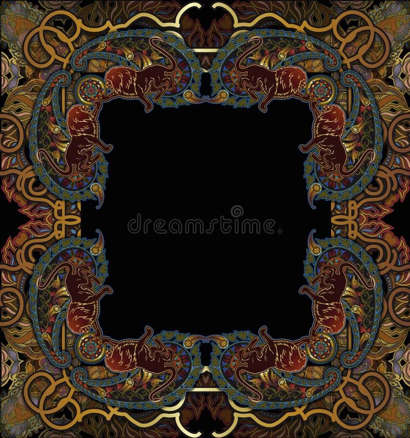 Fond floral de couverture de modèle, motif indien Paisley illustration stock