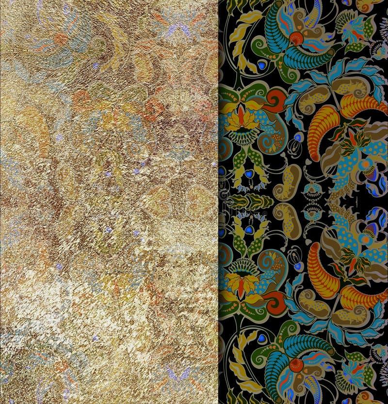 Fond floral de couverture de modèle, cadre indien de motif illustration libre de droits