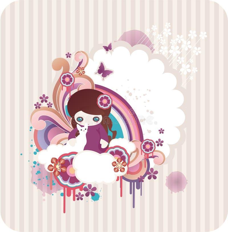 Fond floral de dessin animé illustration stock