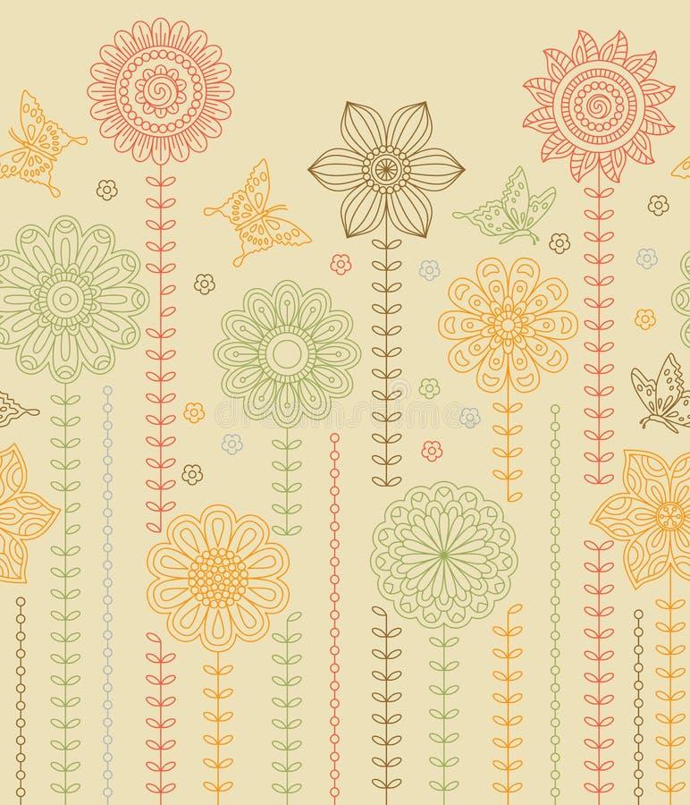 Fond floral de frontière fait de beaucoup de fleurs et de papillons de griffonnage illustration libre de droits