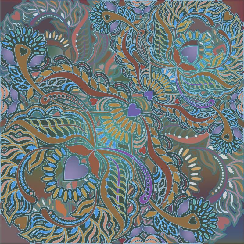 Fond floral de menu, motif oriental illustration stock