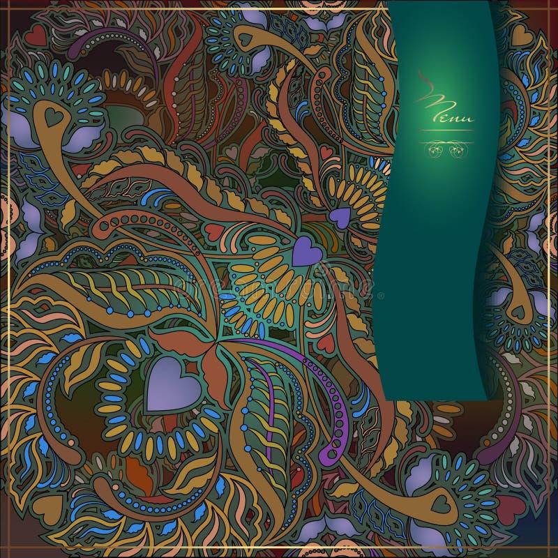 Fond floral de menu, motif oriental illustration de vecteur