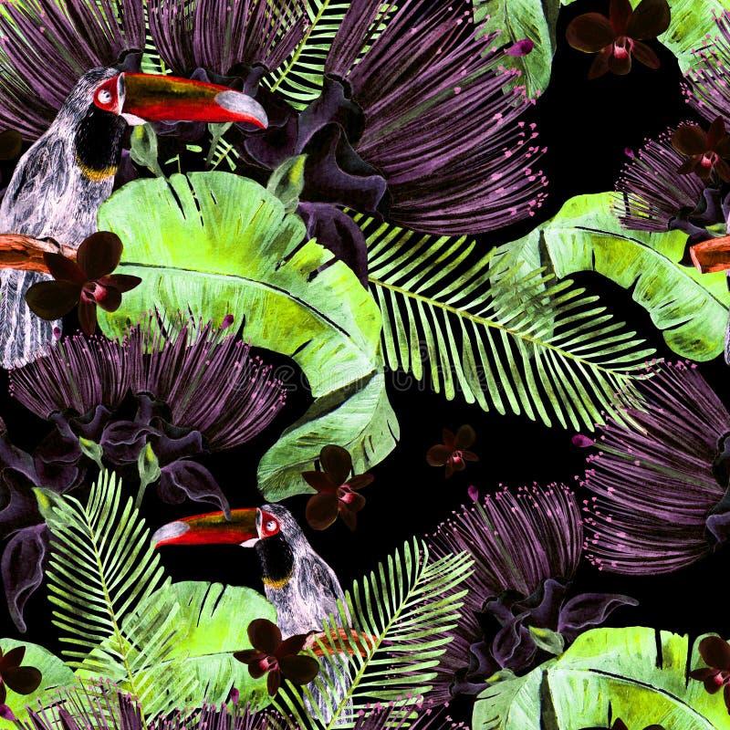 Fond floral de modèle de jungle sans couture et tropicale de belle aquarelle avec des palmettes, fleur des roses, câpres et oisea photos libres de droits