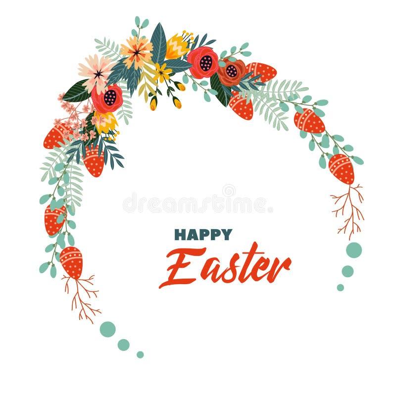 Fond floral de Pâques de vecteur de vacances heureuses de vintage illustration libre de droits