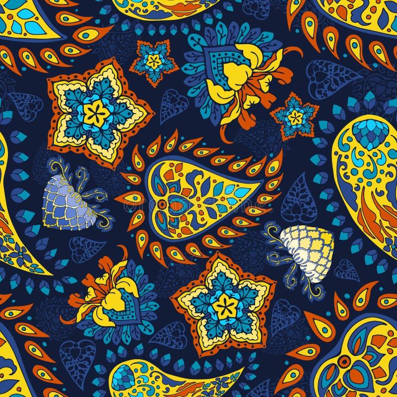 Fond floral de Paisley de mod?le sans couture rouge jaune bleu color? de vecteur dans le style indien illustration libre de droits
