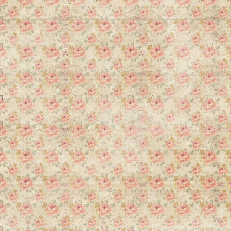 Fond floral de répétition de roses antiques sales rustiques illustration libre de droits