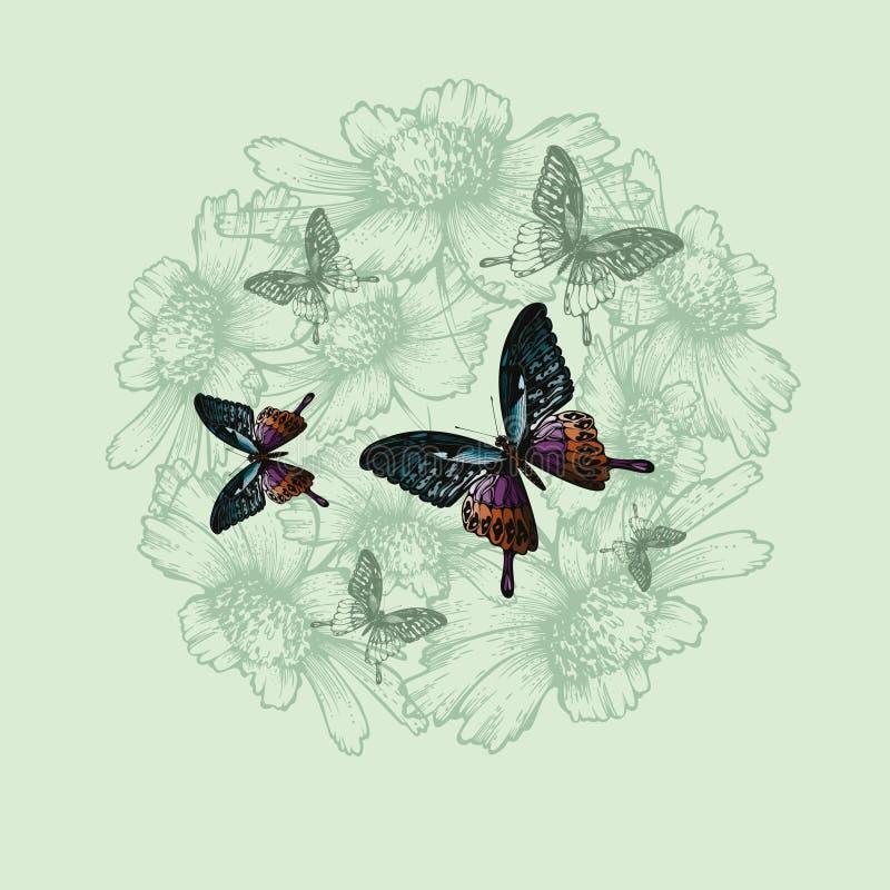 Fond floral de ressort avec des papillons, main-dessin Vecteur illustration de vecteur