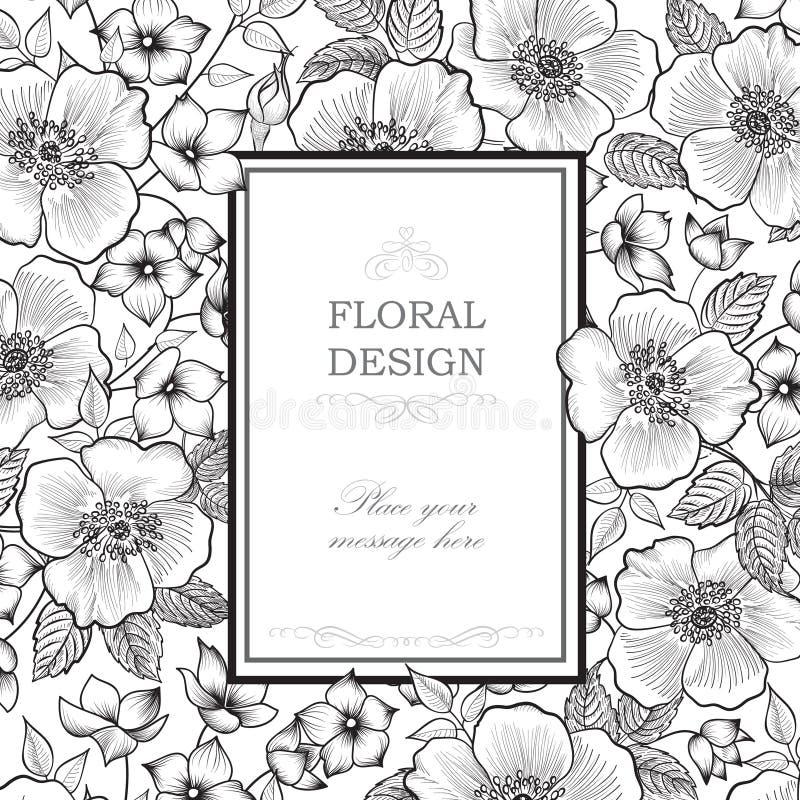 Fond floral de trame Frontière de bouquet de fleur Vintage floral c illustration stock