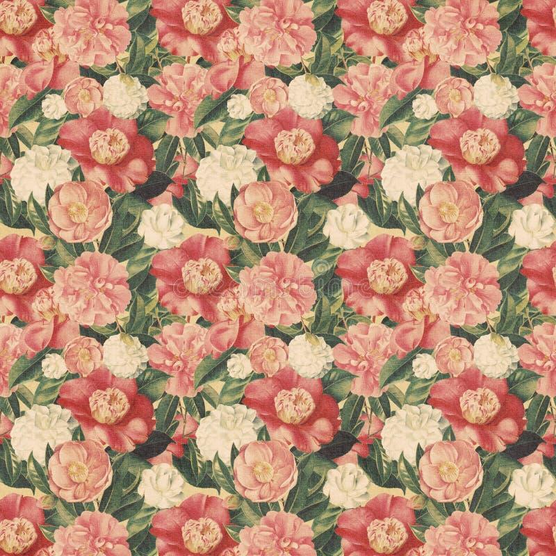 Fond floral de type de cru avec les fleurs roses illustration de vecteur
