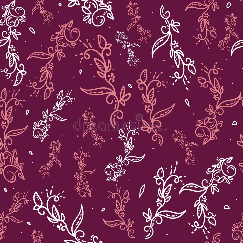 Fond floral de vecteur abstrait Fond rouge floral ornemental givré ou de griffonnage Modèle sans couture pour des papiers peints  illustration de vecteur