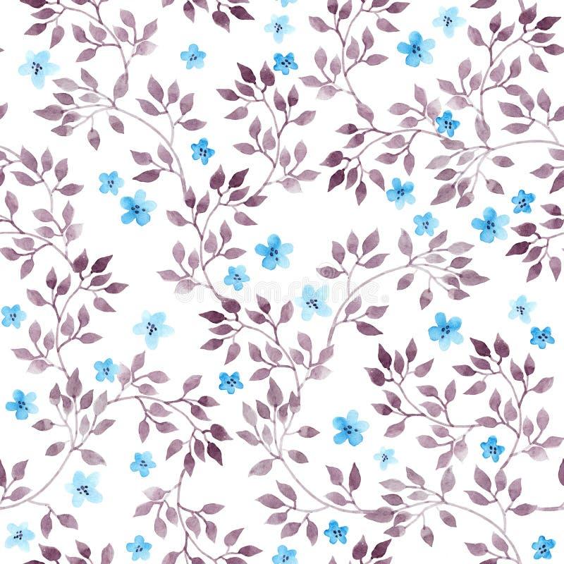 Fond floral de vintage sans couture avec les fleurs et les feuilles mignonnes Art peint par aquarelle illustration stock