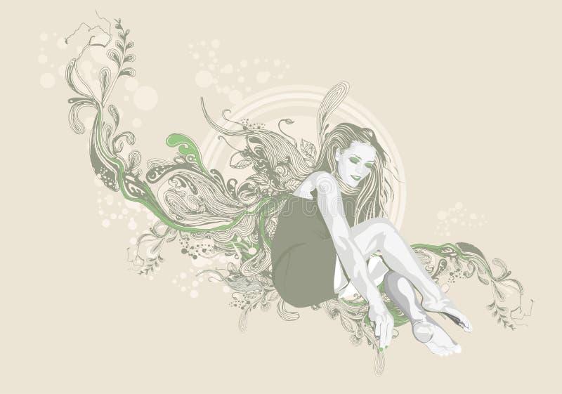 Fond floral femelle illustration de vecteur