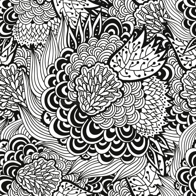 Fond floral, fleurs sans couture, feuilles et modèle de vagues illustration stock