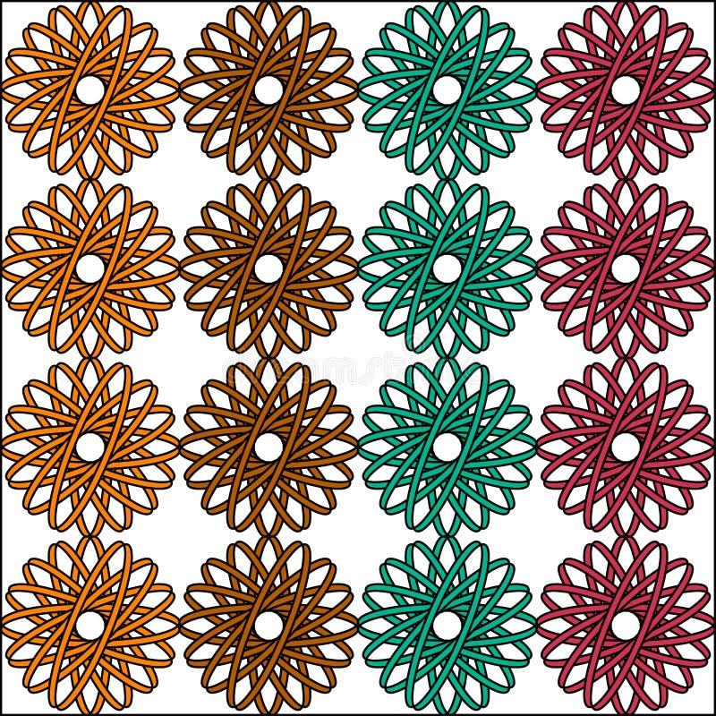 Fond floral géométrique sans couture de vecteur de modèle avec le rose foncé vert conception d'abrégé sur de cru de rétro d'art b illustration stock