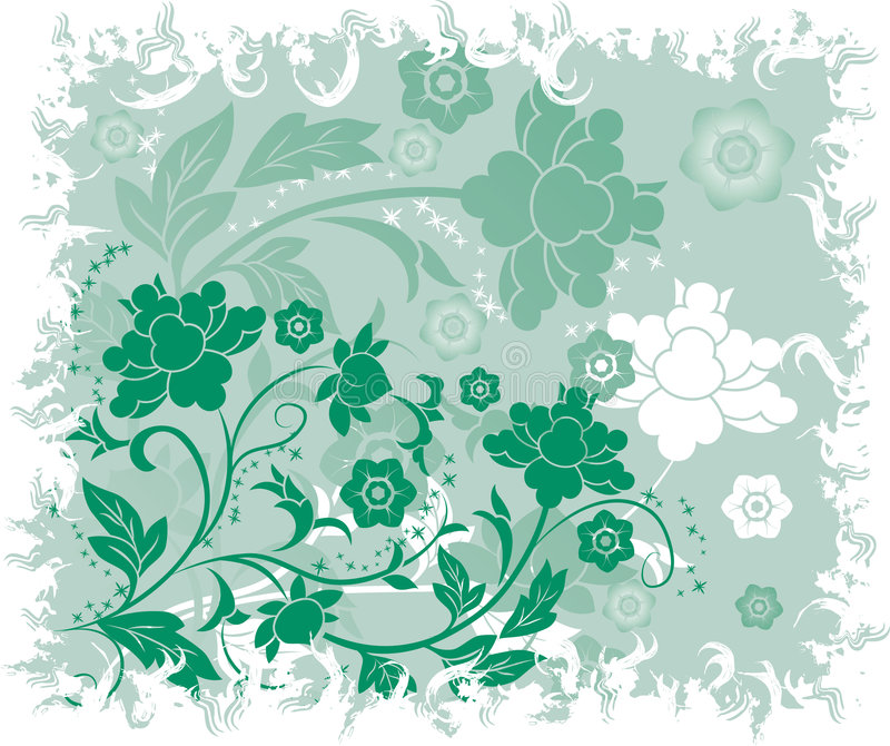 Fond floral grunge, éléments pour la conception, vecteur illustration stock