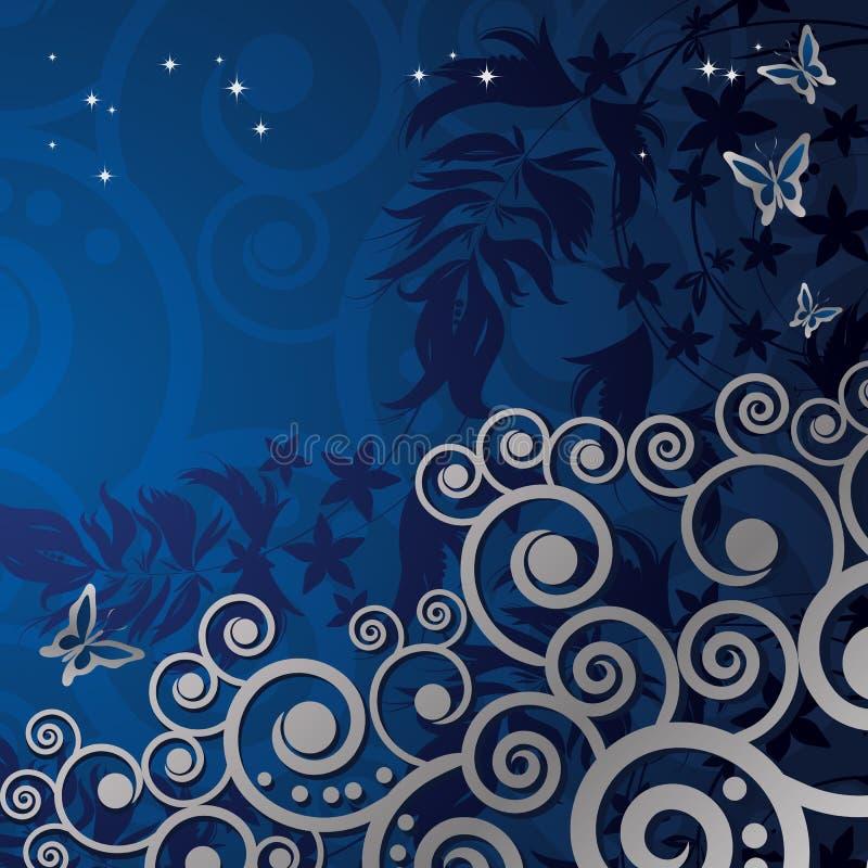 Fond floral magique avec les curles argentés illustration stock