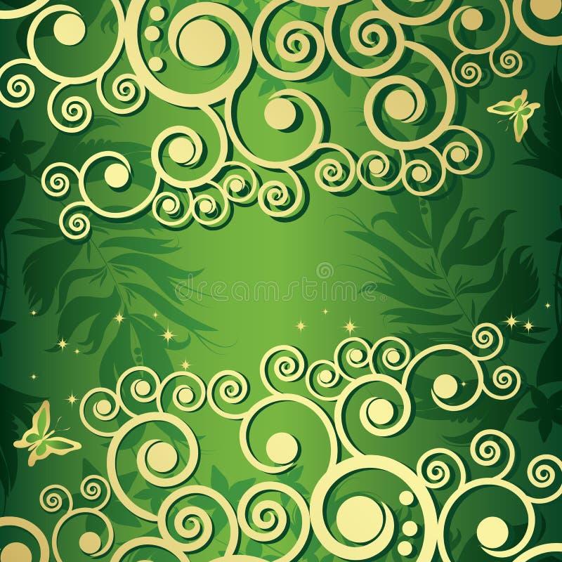 Fond floral magique avec les curles d'or illustration stock