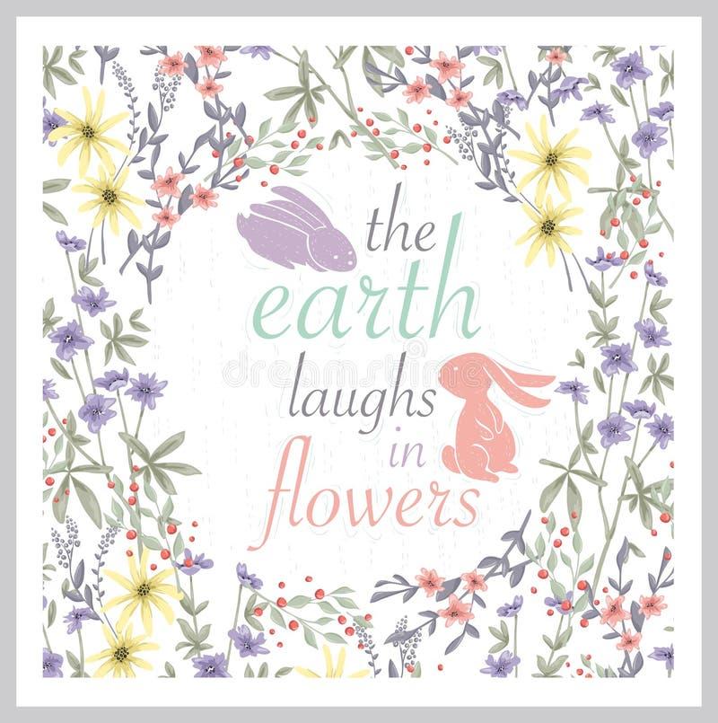Fond floral mignon Art imprimable de mur avec des fleurs Vecteur illustration stock
