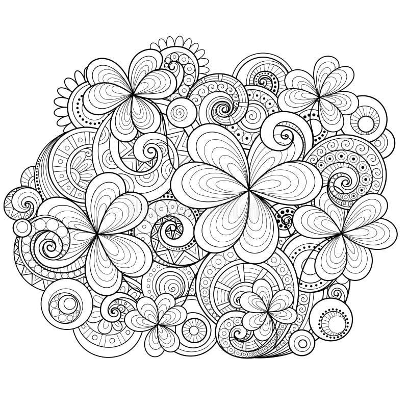 Fond floral monochrome de vecteur Ornement tiré par la main avec le trèfle et les pièces de monnaie décoratifs illustration libre de droits