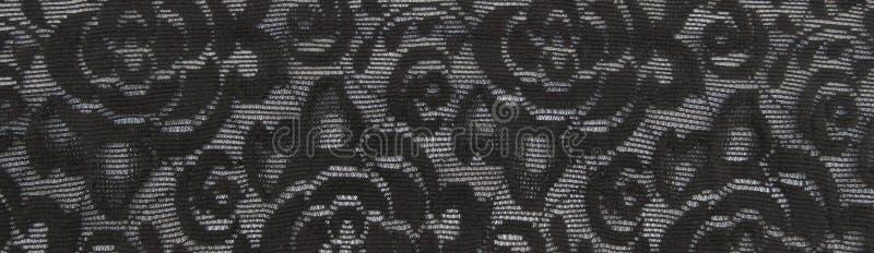 Fond floral noir de bande de dentelle photo libre de droits